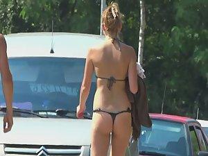 Little ass in tiny thong bikini