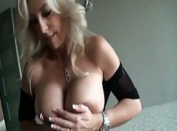Hot milf gets cum on her big tits