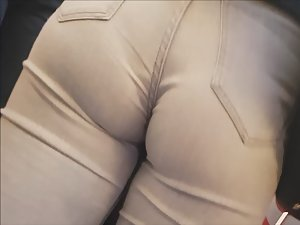 Tight jeans going deep inside soft ass