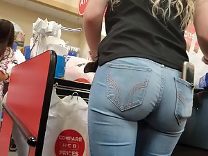 Curly store clerk with a magnificent ass in jeans