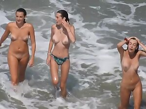 Two hot nudist friends and one shyer girl