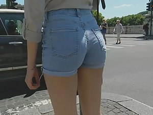 Examining a teen girl in denim shorts