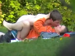 Horny teens fuck in the park