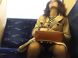 Nice upskirt view on the train