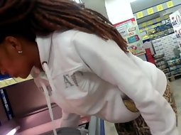 Seductive black lady in the store