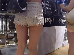 Hot chick in fluffy shorts