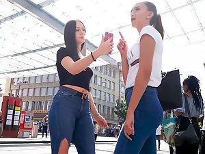 Fancy looking sluts on the tram station