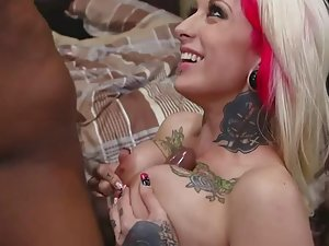 Wild punk girl satisfied with big black dick