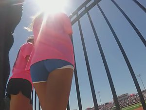 Athletic ass in tight hot pants