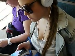 Girl with big boobs in the bus