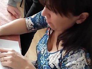 Teacher in school got very nice breasts