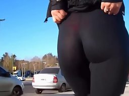 Red thong seen thru black tights