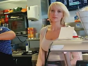 Big boobs of adorable fast food worker