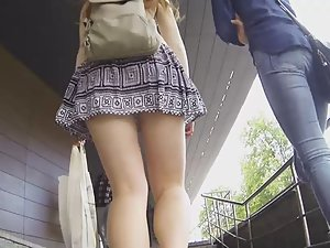 Hot upskirt of pretty college girl