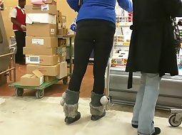 Curvy babe at a supermarket