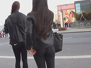 Sweet girl's thong seen in leggings