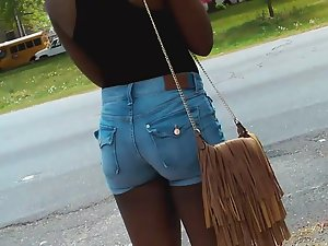 Thick ghetto teen booty in denim shorts