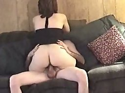Wife balancing herself on top