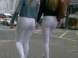 Two sexy teens in white pants
