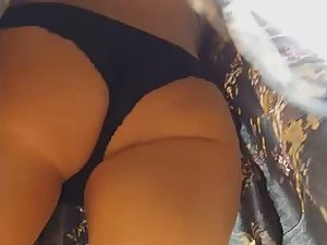 Wind shows charming blonde's ass in upskirt