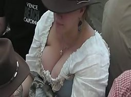 Gigantic boobs spied from above
