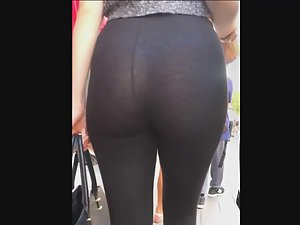Provocative girl with visible thong and butt cheeks