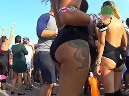 Sexy tattooed slut at rave party