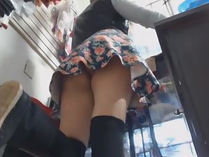 Watching upskirt while hot girl works