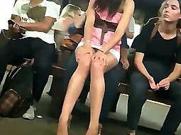 Upskirt of a cute girl at a station