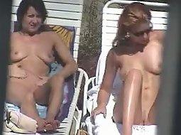 Sexy tanning girls