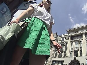 Checking under short green dress