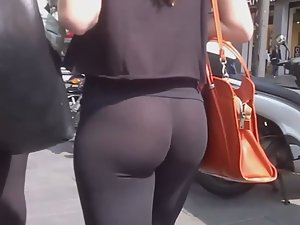 See thru leggings show bubble butt and thong