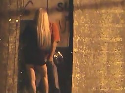 Slutty girl sucks him off in the alley