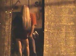 Slutty girl sucks him off in the alley