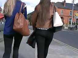 Sexy long haired girls walking
