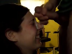 Teen girl is happy for a cum facial