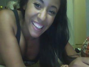 Ebony girl twerks on web camera