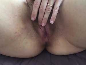 Wife's hairy pussy fucked and shown