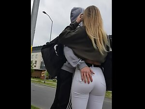 Boyfriend clearly loves her tight bubble butt