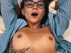 Hot fuck and cum overflow for her mouth