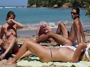 Nudist boy toy with much older woman