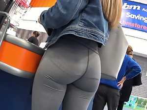 Close look on wonderful ass in tight leggings