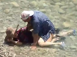 Mature couple explores beach sex