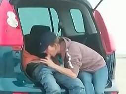 Blowjob on the parking lot