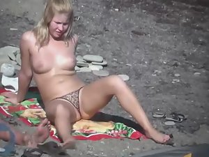 Blonde was too shy to take off bikini