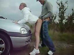 Fucking on the car hood