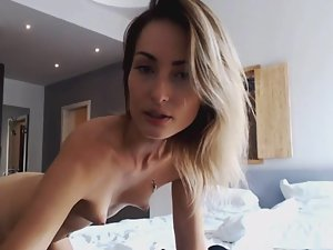 Beautiful cam girl has sex and swallows cum