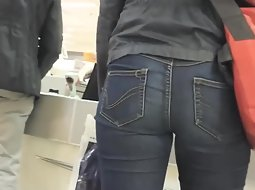 Seductive ass in tight jeans pants