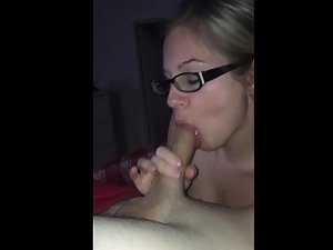 Cute girl sucks dick and opens pussy for cumshot