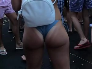 Epic ass with tan lines jumping and wiggling